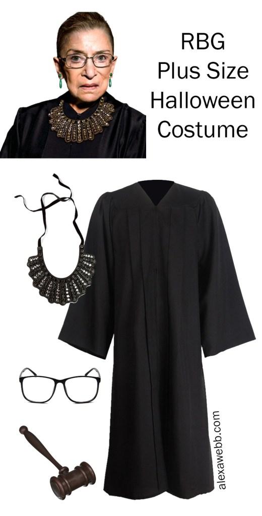 Plus Size Halloween Costume 2019 - RBG - Ruth Bader Ginsburg Judge Robe and Collar - alexawebb.com #plussize #alexawebb
