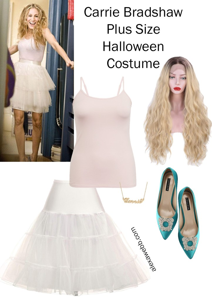 Plus Size Halloween Costume 2019 - Carrie Bradshaw in a Tutu Skirt - Sex and the City - alexawebb.com #plussize #alexawebb