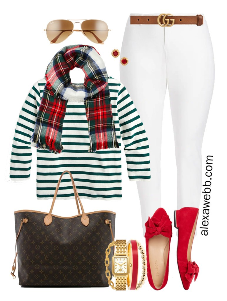 Plus Size Holiday Outfits with White Skinny Jeans, Green Striped Top, Plaid Scarf, Red Flats - Alexa Webb #plussize #alexawebb