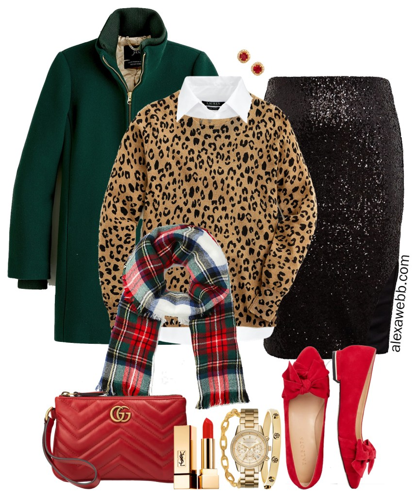 Plus Size Holiday-Inspired Outfits - Black sequin skirt, Leopard Sweater, white button-down, plaid scarf, green coat, and red flats - Alexa Webb