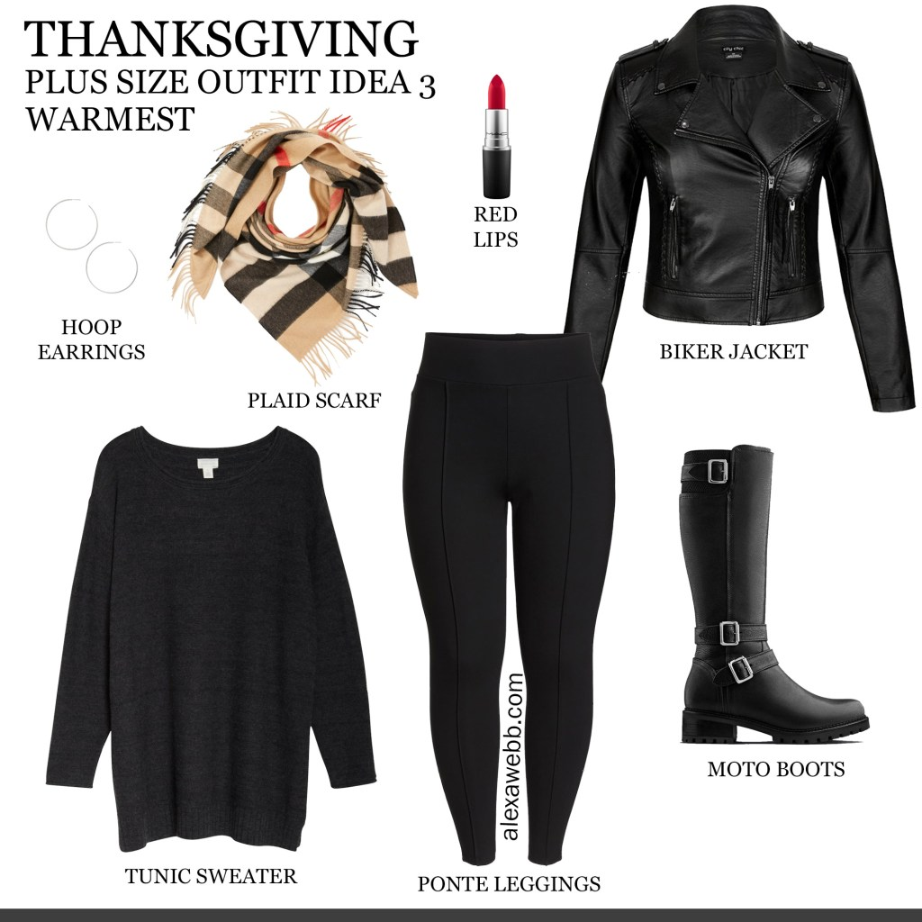 2019 Plus Size Thanksgiving Outfits - Part 2 with Biker Jacket, Tunic, Burberry Scarf, Leggings, Wide Calf Moto Boots - Alexa Webb #plussize #alexawebb