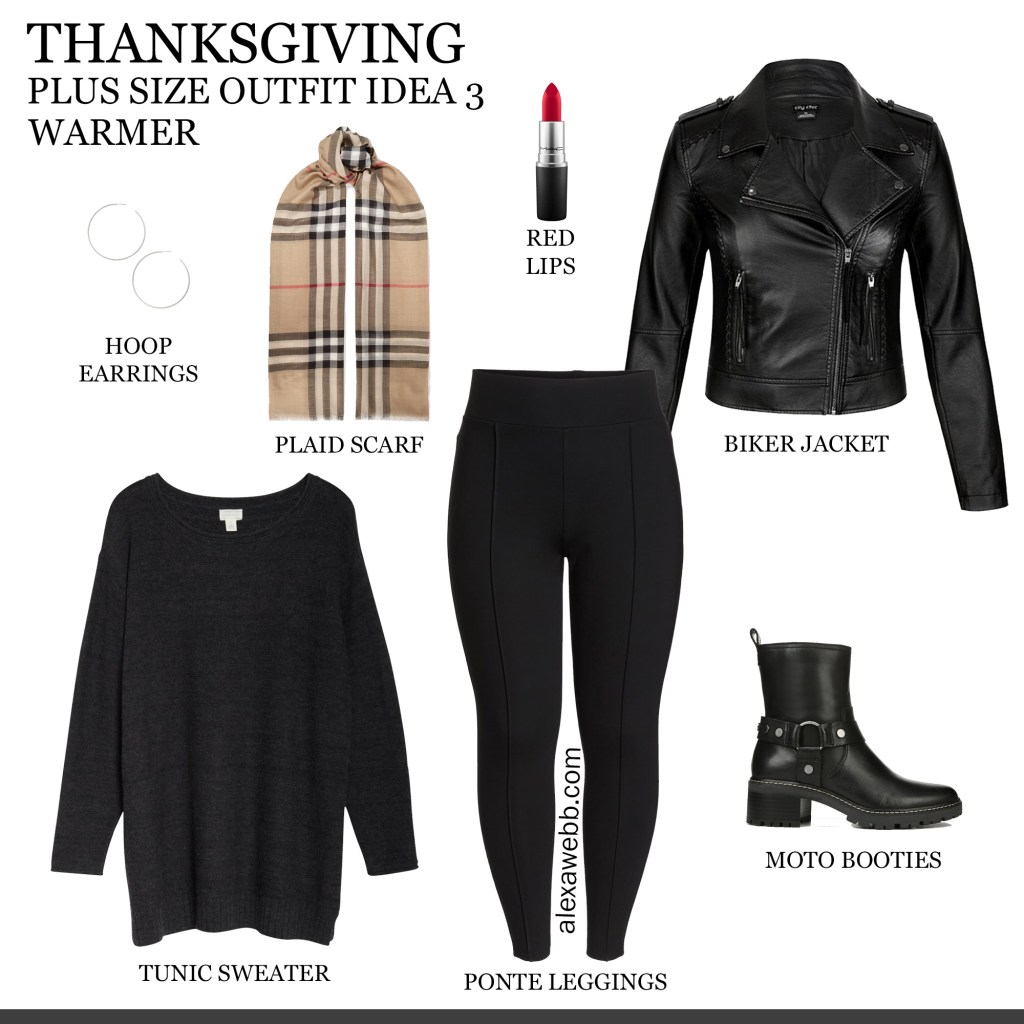 2019 Plus Size Thanksgiving Outfits - Part 2 with Biker Jacket, Tunic, Burberry Scarf, Leggings, Moto Booties - Alexa Webb #plussize #alexawebb