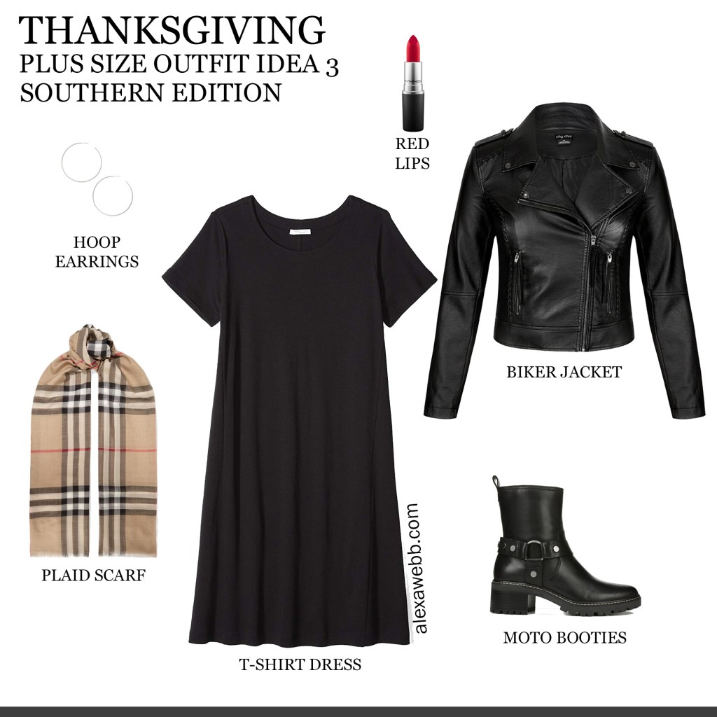 2019 Plus Size Thanksgiving Outfits - Part 2 with Biker Jacket, T-Shirt Dress, Burberry Scarf, Leggings, Moto Booties - Alexa Webb #plussize #alexawebb