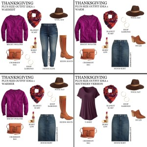 2019 Plus Size Thanksgiving Outfits - Part 1 with Cashmere Sweater, Plaid Blanket Scarf, Jeans or Denim Skirt, Wide Calf Boots or Mules, Wool Hat - Alexa Webb #plussize #alexawebb