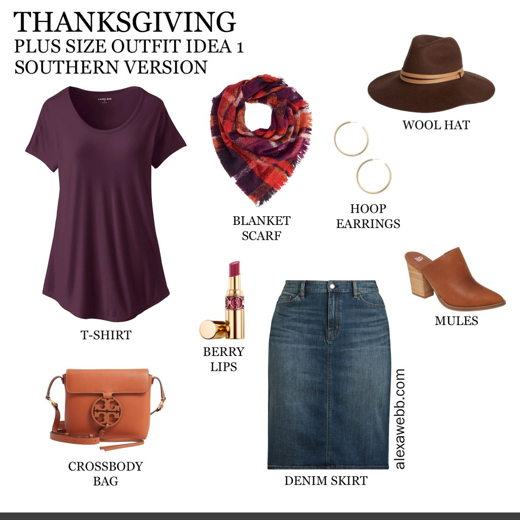 2019 Plus Size Thanksgiving Outfits - Part 1 Southern Edition with T-Shirt, Plaid Blanket Scarf, Denim Skirt, Mules, Wool Hat - Alexa Webb #plussize #alexawebb