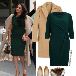 Straight Size to Plus Size - Meghan Markle in Green Dress with Camel Coat - Alexa Webb #plussize #alexawebb