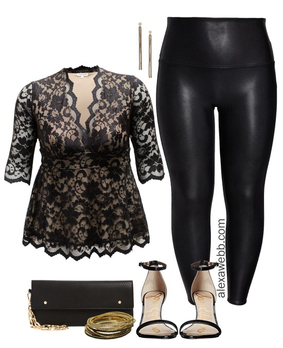 Plus Size Holiday Party Outfit Idea with Lace Top and Faux Leather Legggings - Alexa Webb