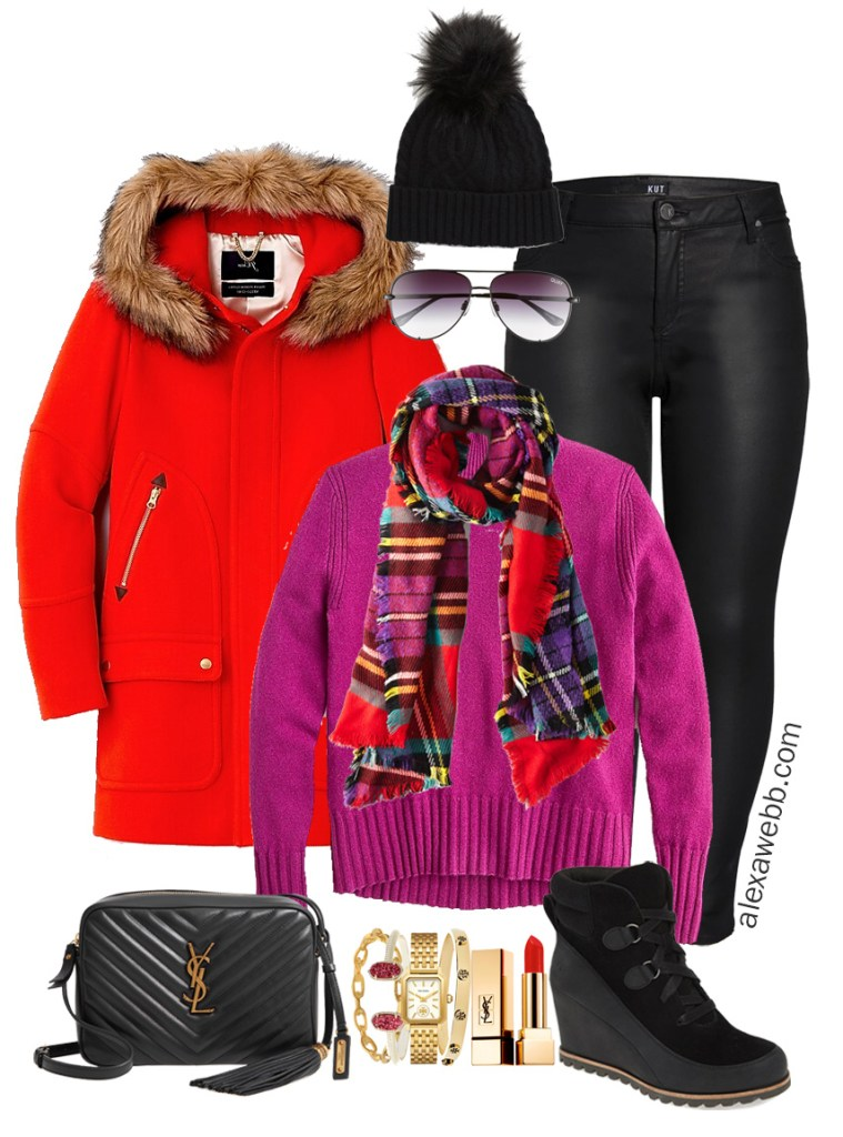 Plus Size Bright Plaid Outfit with Plaid Scarf, Magenta Sweater, Red Coat, Black Faux Leather Jeans or Leggings, and Waterproof Wedge Booties - Alexa Webb