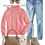 2019 Plus Size Cyber Week Sales - Coral Sweater & Jeans Outfit - Alexa Webb