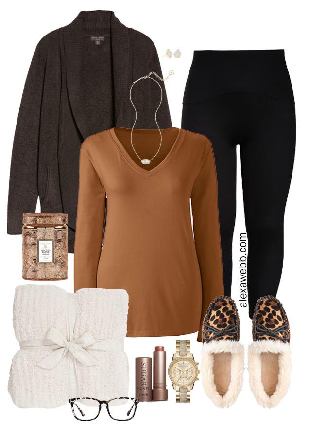 Plus Size Cozy Loungewear with Barefoot Dreams Cardigan, T-Shirt, Leggings, and Leopard Calf Hair Slippers - Alexa Webb #Plussize #alexawebb
