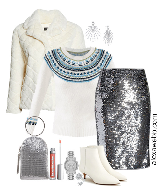 Plus Size Fair Isle Sweater Outfit with Sequin Skirt, Faux Fur Coat, White Ankle Bootie, Silver Clutch - Alexa Webb