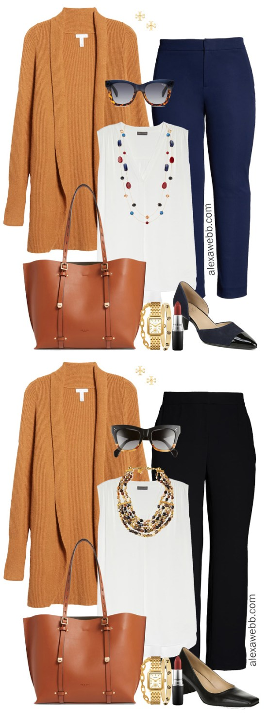 Plus Size Fall Cardigan Outfit Ideas with Dolman Cardigan, Trousers, and Statement Necklace - Alexa Webb #plussize #alexawebb