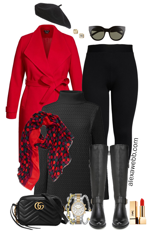 Plus Size Tunic Sweater Outfit - Red Coat, Leggings, Wide Calf Riding Boots, and Crossbody Bag - Alexa Webb