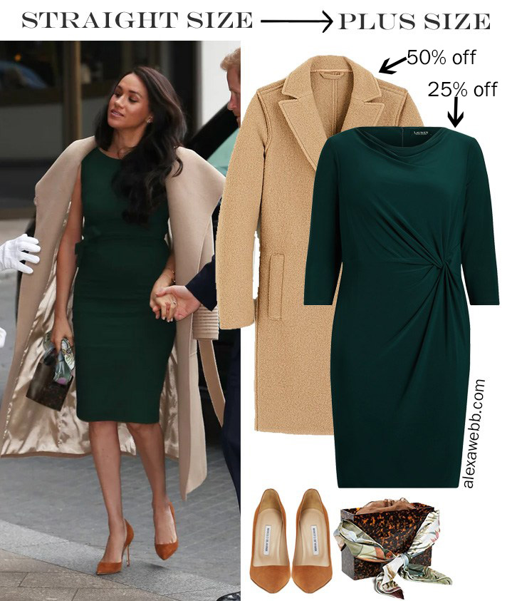 2019 Plus Size Black Friday Deals – Meghan Markle Outfit Idea with Green Dress and Camel Coat - Alexa Webb