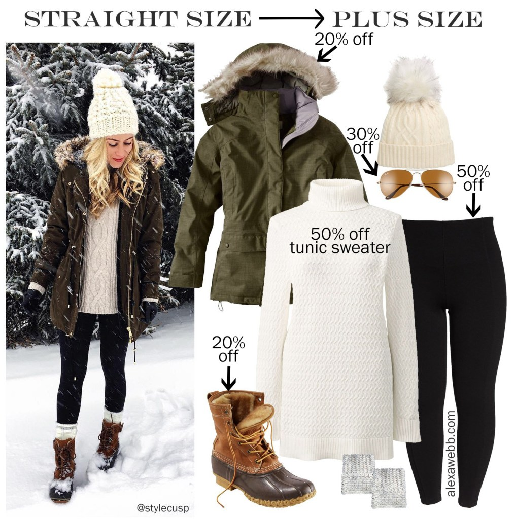 2019 Plus Size Black Friday Deals – Winter Alpine Outfit with leggings, tunic sweater, and faux fur rimmed hooded jacket - Alexa Webb