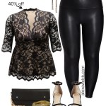2019 Plus Size Cyber Week Sales - Holiday House Party Outfit - Lace Peplum Top with Faux Leather Leggings - Alexa Webb