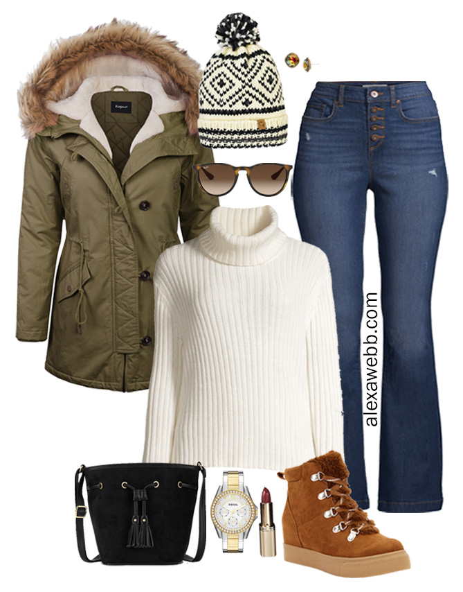 Plus Size Casual Winter Outfit with Walmart - Plus size parka, turtleneck sweater, jeans, and beanie - Alexa Webb