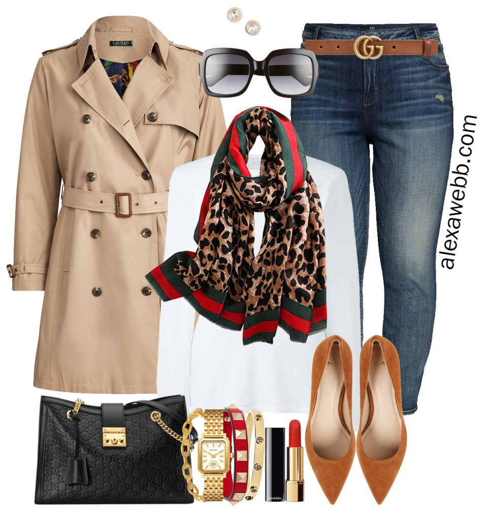 Plus Size Gucci Scarf Outfit Ideas - Jeans, Gucci Belt, Trench Coat, White T-Shirt - Alexa Webb - Plus Size Fashion for Women - #alexawebb #plussize