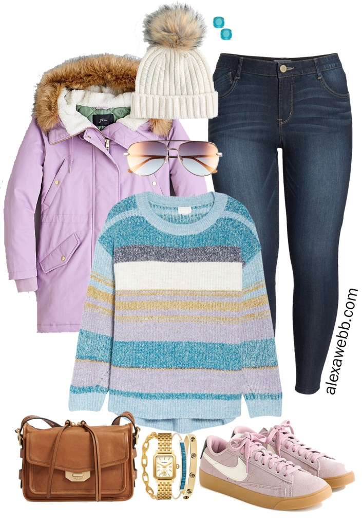 Plus Size Pastel Winter Outfit with Striped Sweater, Lavender Parka, Skinny Jeans, Lilac Sneakers, Crossbody Bag - Alexa Webb
