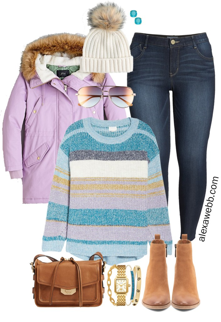 Plus Size Pastel Winter Outfit with Striped Sweater, Lavender Parka, Skinny Jeans, Ankle Booties, Crossbody Bag - Alexa Webb
