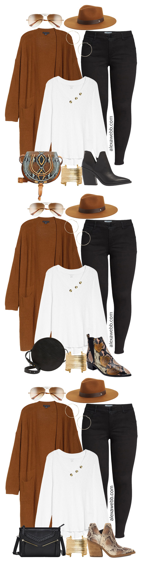Plus Size Long Cardigan Casual Outfit Ideas with Black Jeans, White Henley, Ankle Booties, and Crossbody Bag - Alexa Webb