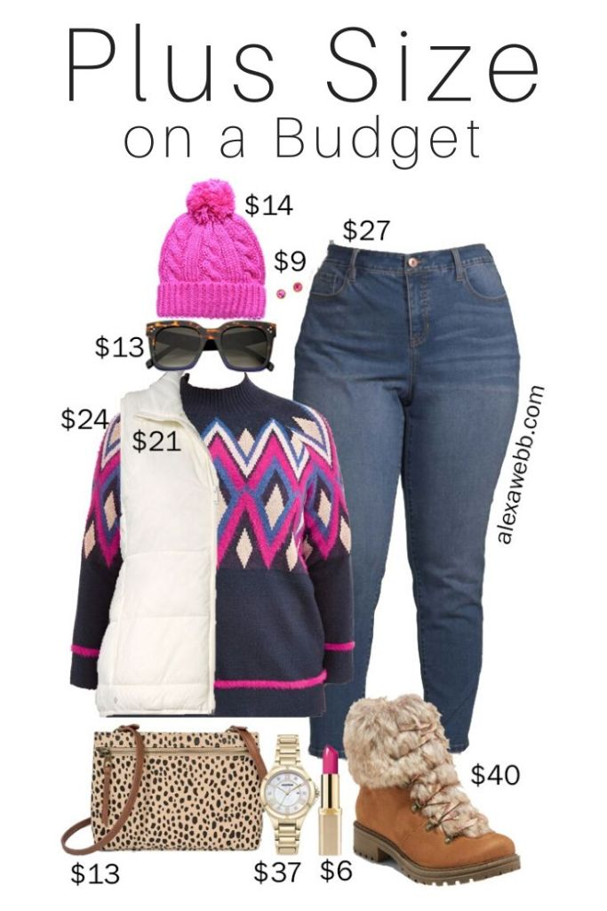 Plus Size on a Budget - Jacquard Sweater Winter Outfit Idea with Vest and Jeans - Alexa Webb