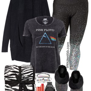 Plus Size Winter Loungewear - Pink Floyd T-Shirt, Glitter Leggings, Sparkly Slippers - Alexa Webb