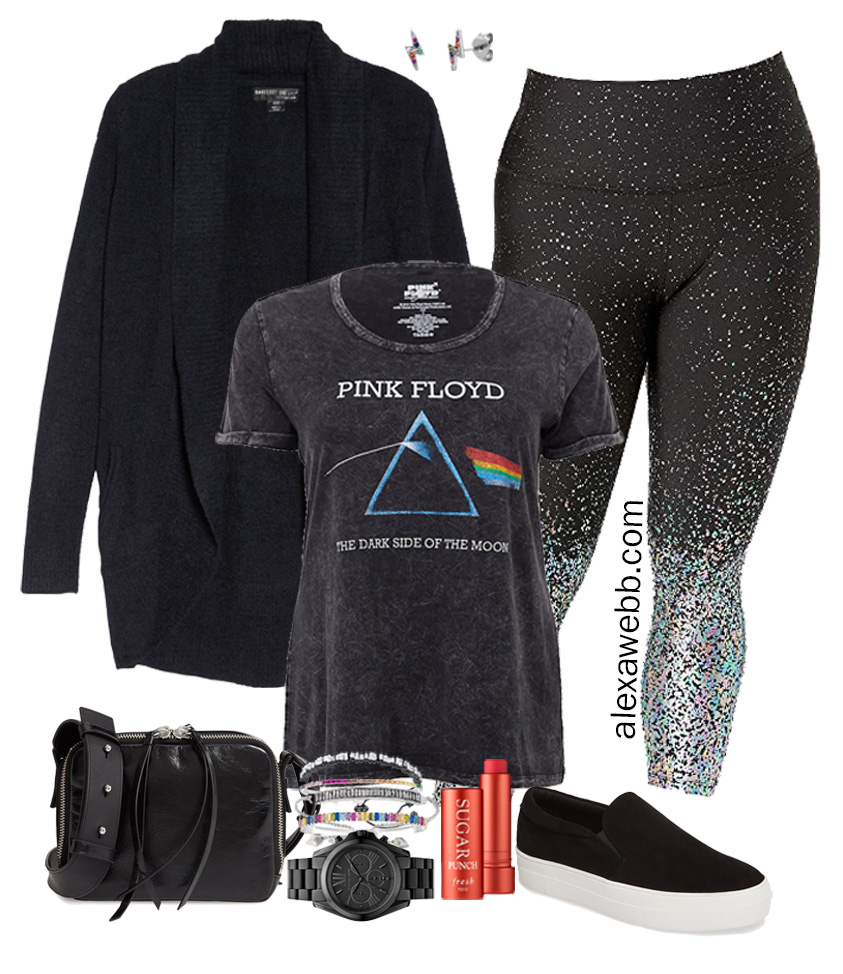 Plus Size Athleisure and Loungewear - Glitter Leggings and Barefoot Dreams Cardigan with Slip on Sneakers - Alexa Webb