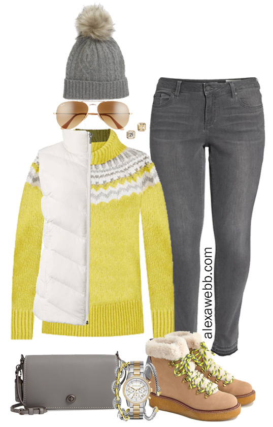 Plus Size Yellow Fair Isle Sweater Outfit - with grey jeans, white puffer vest, crossbody bag, and JCrew hiker boots - Alexa Webb