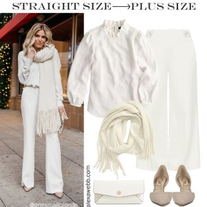 Straight Size to Plus Size - Winter White Outfit Idea with Cream Wide Leg Trousers, Off-White Blouse, Ivory Scarf, Tory Burch Clutch, and Oatmeal Pumps - Alexa Webb #plussize #alexawebb
