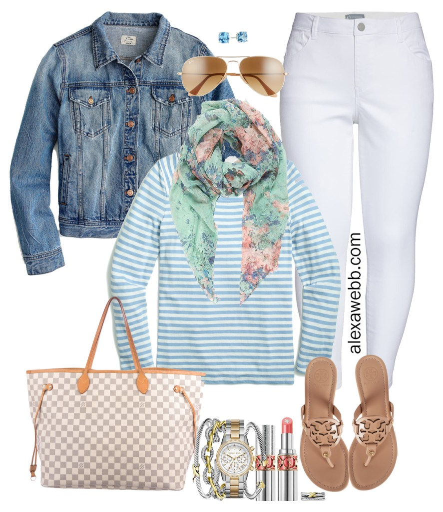 Plus Size Early Spring Outfit Ideas with White Jeans, Denim Jacket, Blue Stripe Tee, Floral Scarf, Tory Burch Sandals, and Louis Vuitton Neverfull - Alexa Webb #plussize #alexawebb