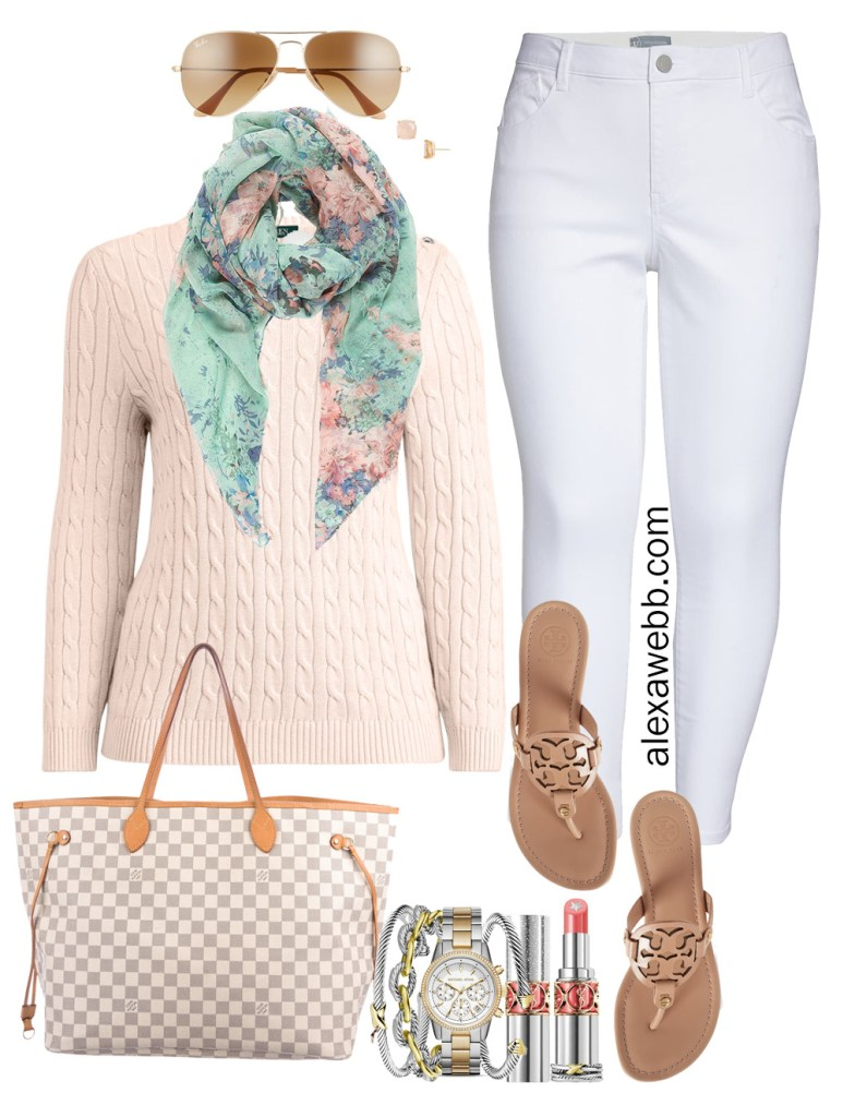 Plus Size Early Spring Outfit Ideas with White Jeans, Blush Pink Cableknit Sweater, Floral Scarf, Tory Burch Sandals, and Louis Vuitton Neverfull - Alexa Webb #plussize #alexawebb