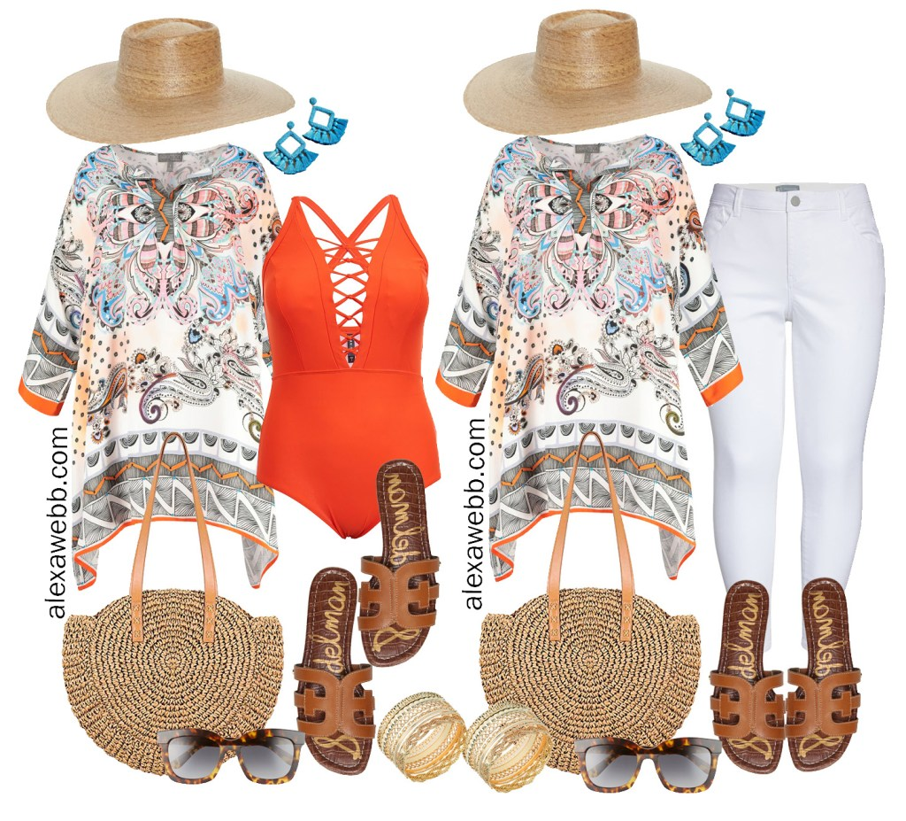 Plus Size Beach Vacation Outfits - Plus Size Tunic, Swimsuit, White Jeans, Straw Tote, Sandals - Alexa Webb #plussize #alexawebb