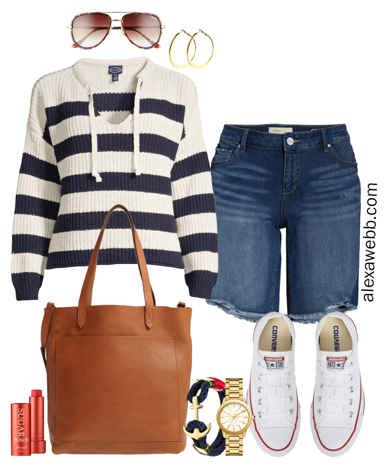 Plus Size Nautical Sweater Outfit with stripe navy sweater and denim shorts, converse sneakers and tote bag. Alexa Webb