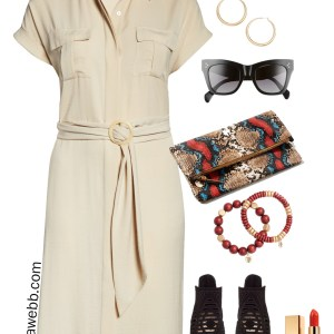 Plus Size Safari Dress with Snake Clutch, Wood Bracelets, and Peep-toe Booties - Alexa Webb #Plussize #Alexawebb
