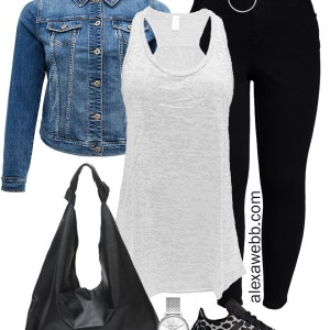 Plus Size Sneakers Outfit - Plus Size Black Jeans with a Denim Jacket, White Burnout Tank, Hobo Bag, and Leopard Sneakers - Alexa Webb #plussize #alexawebb