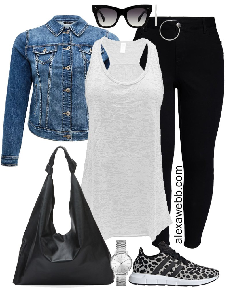 Plus Size Sneakers Outfit - Plus Size Black Jeans with a Denim Jacket, White Burnout Tank, Hobo Bag, and Cheetah Sneakers - Alexa Webb #plussize #alexawebb