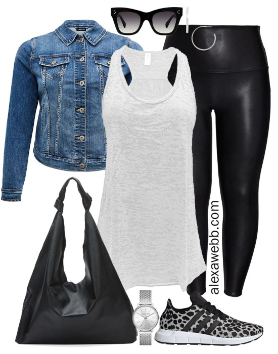 Plus Size Sneakers Outfit - Plus Size Black Spanx Faux Leather Leggings with a Denim Jacket, White Burnout Tank, Hobo Bag, and Leopard Sneakers - Alexa Webb