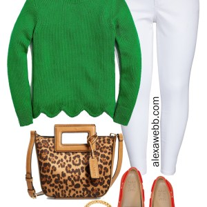 Plus Size Spring Green Outfit with Scallop Hem Sweater, Leopard Bag, Orange Loafers, and White Ankle Jeans - Alexa Webb #plussize #alexawebb