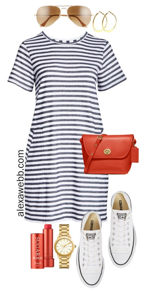 Plus Size Stripe T-Shirt Dress with Aviator Sunglasses, Red Crossbody Bag, Platform Converse Sneakers - Plus Size Summer Vacation Outfit - Alexa Webb #alexawebb #olussize