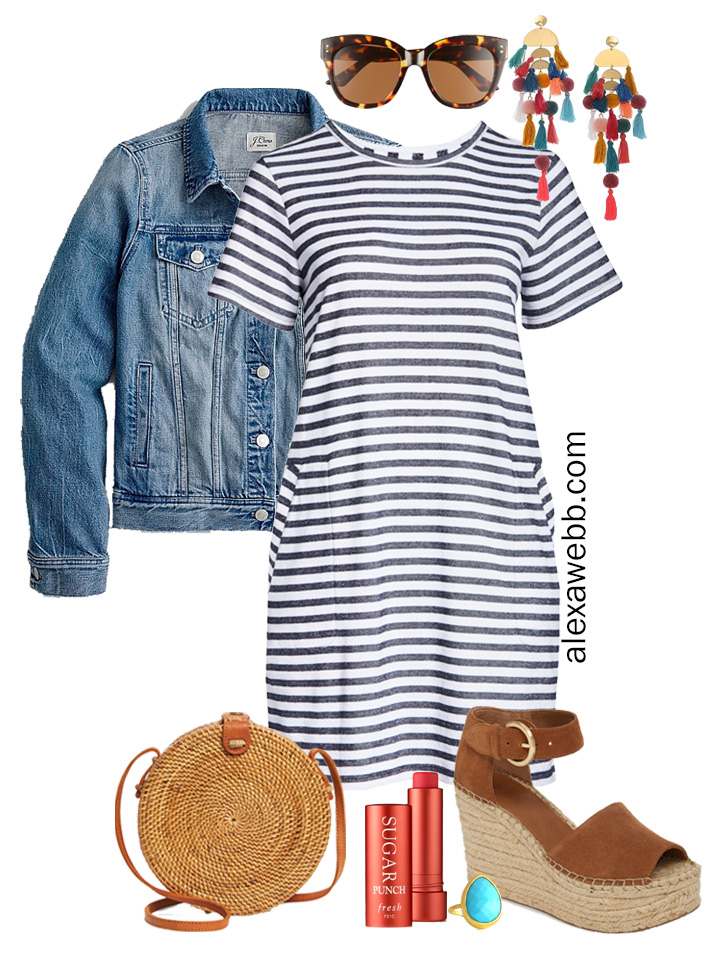 Plus Size Stripe T-Shirt Dress Outfit with Denim Jacket, Statement Boho Earrings, Rattan Crossbody, and Espadrille Sandals - Alexa Webb #plussize #alexawebb