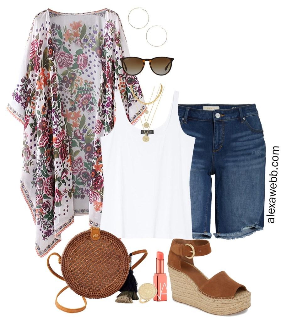 Plus Size Beach Vacation Outfits with a white tank, boho kimono, denim shorts, and platform espadrilles. Alexa Webb #plussize #alexawebb