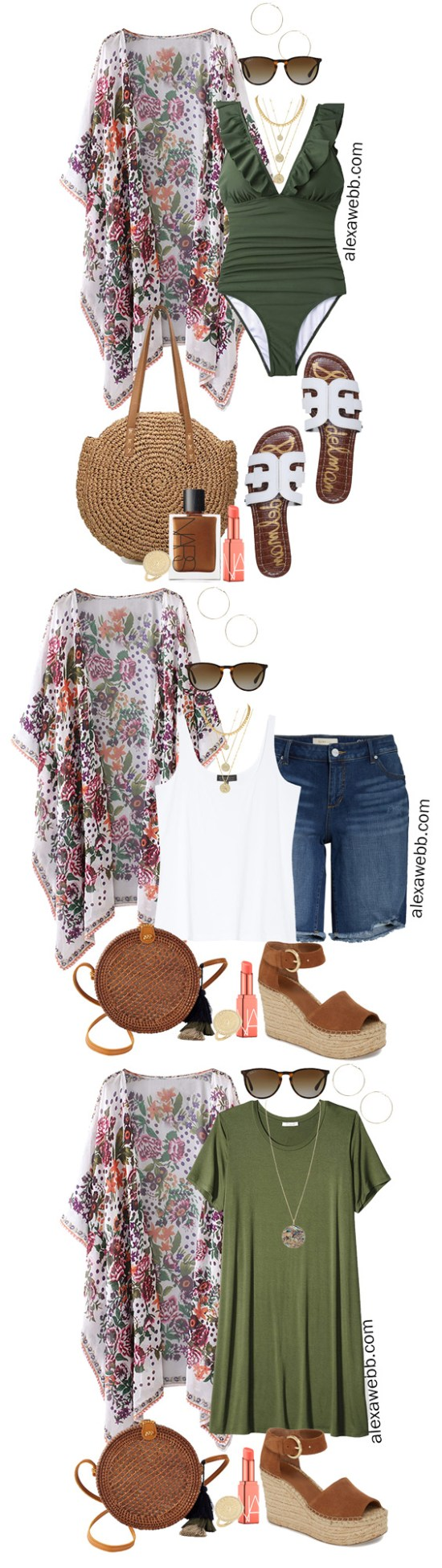 Plus Size Beach Vacation Outfits with a swimsuit, boho kimono, slide sandals, and straw tote. Alexa Webb #plussize #alexawebb