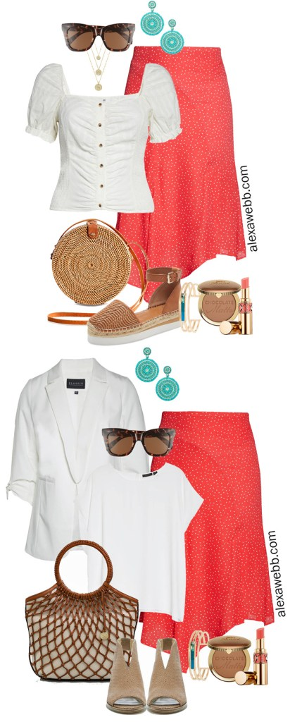 Plus Size Coral Skirt Outfits for Spring and Summer - Business Casual Outfit and Casual Outfit - Alexa Webb #plussize #alexawebb