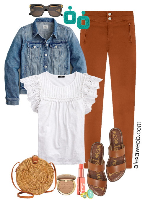 Plus Size Spring Outfit Formula - with rust pants, white eyelet top, denim jacket, slide sandals, and rattan bag - Alexa Webb #plussize #alexawebb