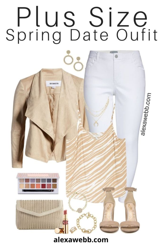 Plus Size Spring Date Night Outfit - Suede Jacket, Zebra Camisole Top, White Jeans, Heeled Sandals and Clutch - Alexa Webb #Plussize #Alexawebb