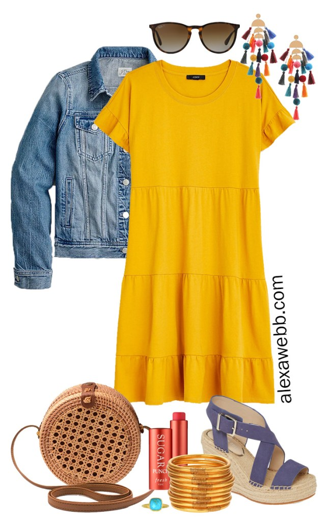 Plus Size Casual Summer Dress Outfits with a mustard yellow tiered knit dress, denim jacket, rattan canteen bag, and wedge espadrille sandals - Alexa Webb #plussize #alexawebb #curvyfashion