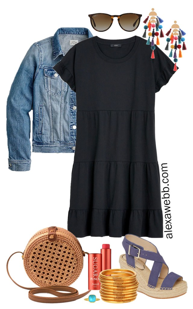 Plus Size Casual Summer Dress Outfits with a black tiered knit dress, denim jacket, rattan canteen bag, and wedge espadrille sandals - Alexa Webb #plussize #alexawebb #curvyfashion