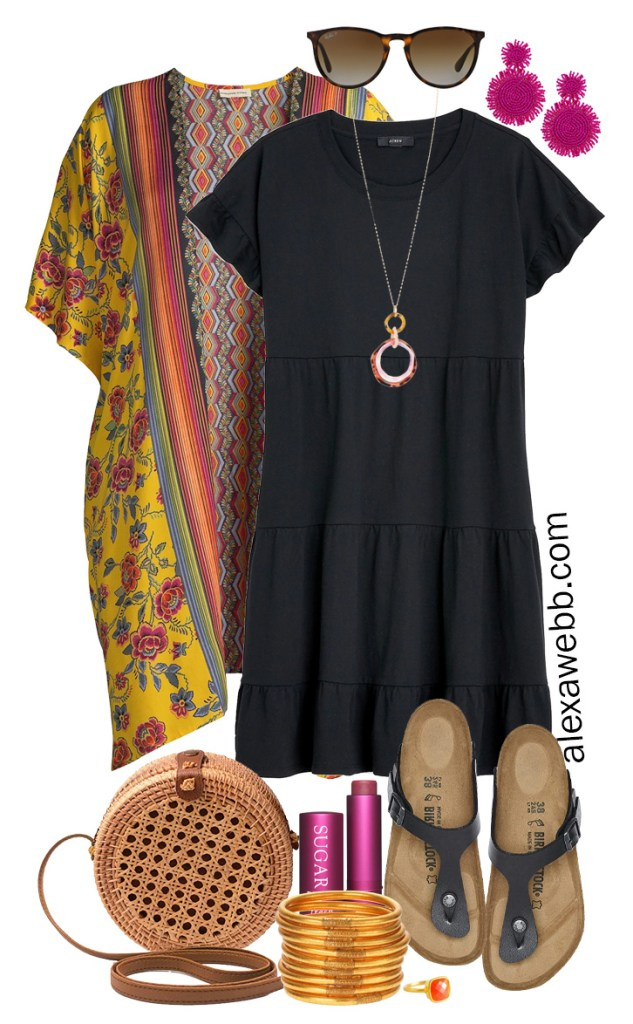 Plus Size Casual Summer Dress Outfits with a black tiered knit dress, kimono, rattan canteen bag, and Birkenstock sandals - Alexa Webb #plussize #alexawebb #curvyfashion