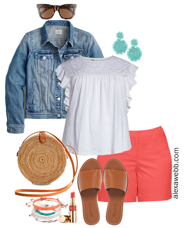 Plus Size Coral Shorts Outfit with Flutter Sleeve Embroidered White Top and Statement Earrings - Alexa Webb #plussize #alexawebb